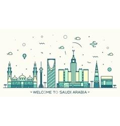 Skyline saudi arabia trendy linear style vector