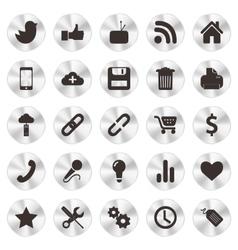 Social Web aluminium Icons vector image