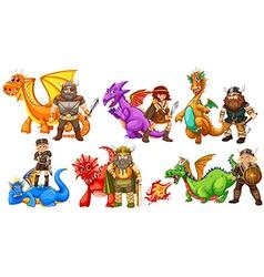 Vikings and dragons vector image