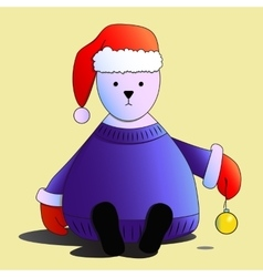 White bear in red Santas hat isolated vector image