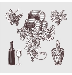 Wine and winemaking vintage set vector image vector image