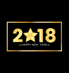 2018 happy new year gold numbers design festive vector image