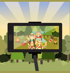 cartoon people characters in forest taking selfie vector image