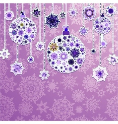 Christmas purple with baubles EPS 8 vector image vector image