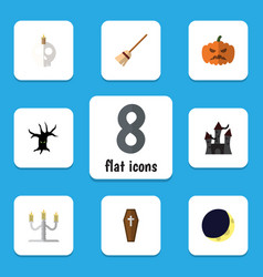 flat icon festival set of broom candlestick vector image vector image