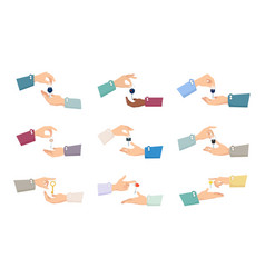 hands passing keys sale process collection vector image vector image