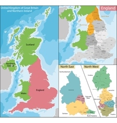 Map of North East and West England vector image