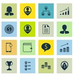 set of 16 hr icons includes employee location vector image vector image