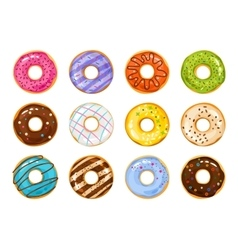 Sweets donuts sugar glazed fries pastry vector image