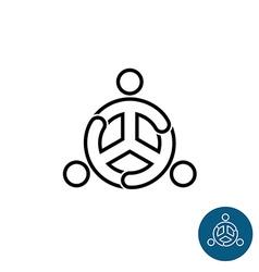 Three people black outline team community logo vector image