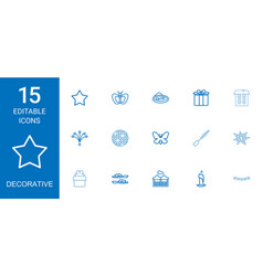 15 decorative icons vector image