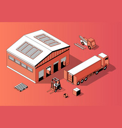 3d isometric warehouse with truck forklift vector image