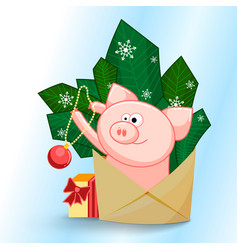 a funny pig jumping out of an envelope to decorate vector image