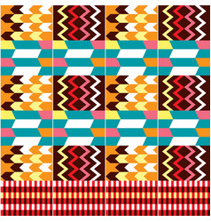 African kente cloth style seamless pattern vector