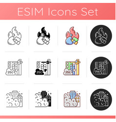 Air pollution icons set vector