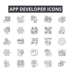 app developer line icons for web and mobile design vector image