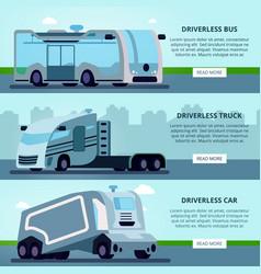 Autonomous driverless vehicles banners vector