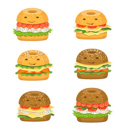 Bagel characters vector image