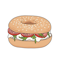 Bagel sandwich with cream cheese rucola tomatoes vector