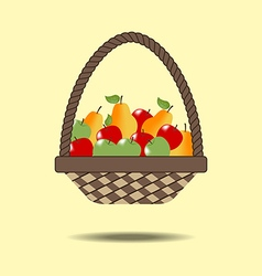 Basket with fruit vector