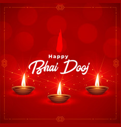 Beautiful happy bhai dooj indian festival vector
