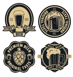 Beer labels Vintage craft beer retro design vector