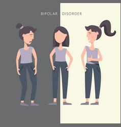 Bipolar mental disorder sad and happy girl vector