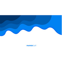 Blue papercut style wavy abstract background vector