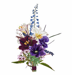 Bouquet violet flowers and herbs vector