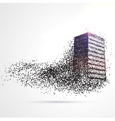 building made from black particles vector image