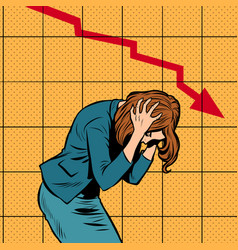 businesswoman woman panic bankruptcy financial vector image