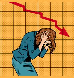 Businesswoman woman panic bankruptcy financial vector