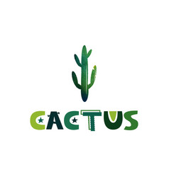 Cactus cute lettering text image to print vector