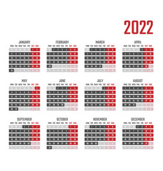 Calendar for 2022 starts monday vector
