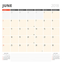 Calendar planner for june 2018 design template vector
