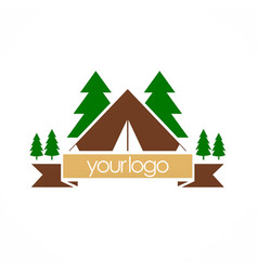 camping nature pine tree logo vector image