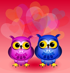 Cartoon owls in love vector