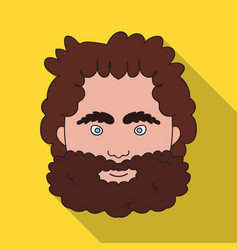 Caveman face icon in flate style isolated on white vector