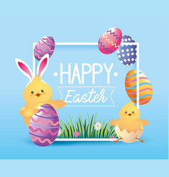 Chick wearin rabbit ears with easter eggs vector