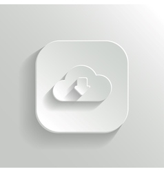 Cloud download icon - white app button vector image