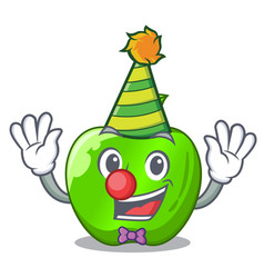 Clown green smith apple isolated on cartoon vector
