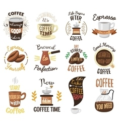 Coffee time badges set vector