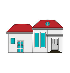 Colorful image cartoon facade modern house with vector