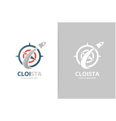 compass and rocket logo combination vector image
