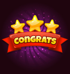 congratulations game screen golden congrats sign vector image