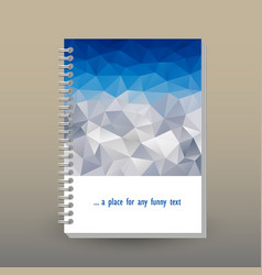 cover of diary polygonal blue sky over mountain vector image