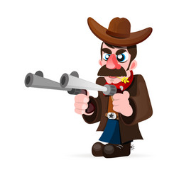 Cowboy with gun and hat vector