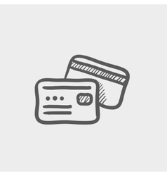 Credit card sketch icon vector image