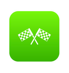 Crossed chequered flags icon digital green vector