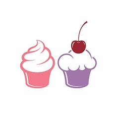 Cupcake icon set vector